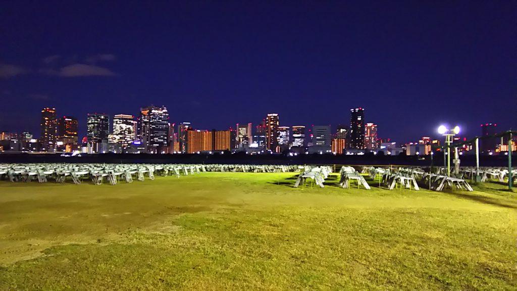 大阪、淀川花火大会前日の風景