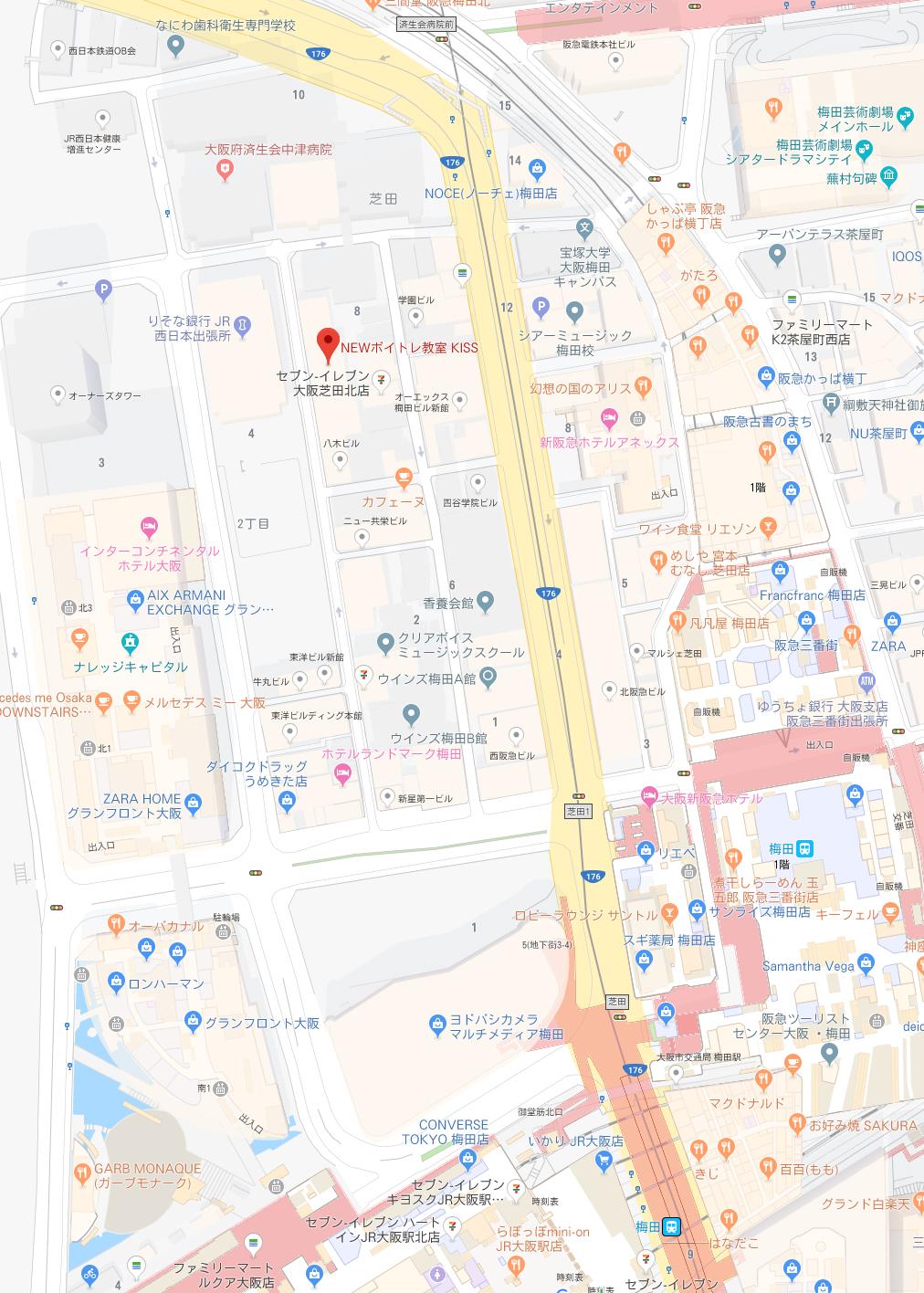 梅田ボーカルスクール地図